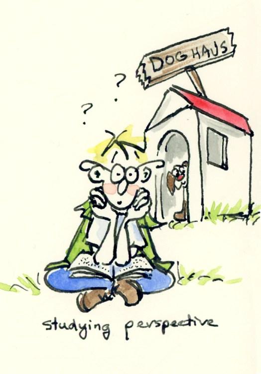 Simple perspective for cartoon illustrations - Dog Haus cartoon by Joana Miranda