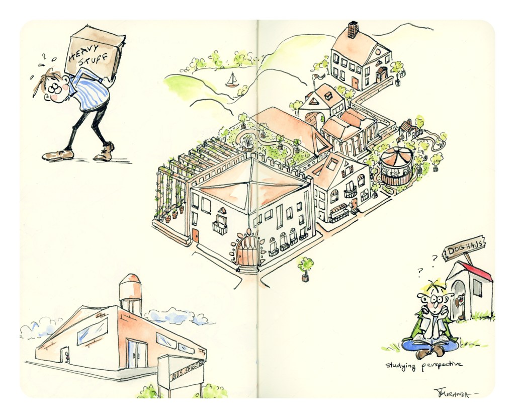 Simple perspective for cartoon illustrations - Moleskine perspective studies by Joana Miranda