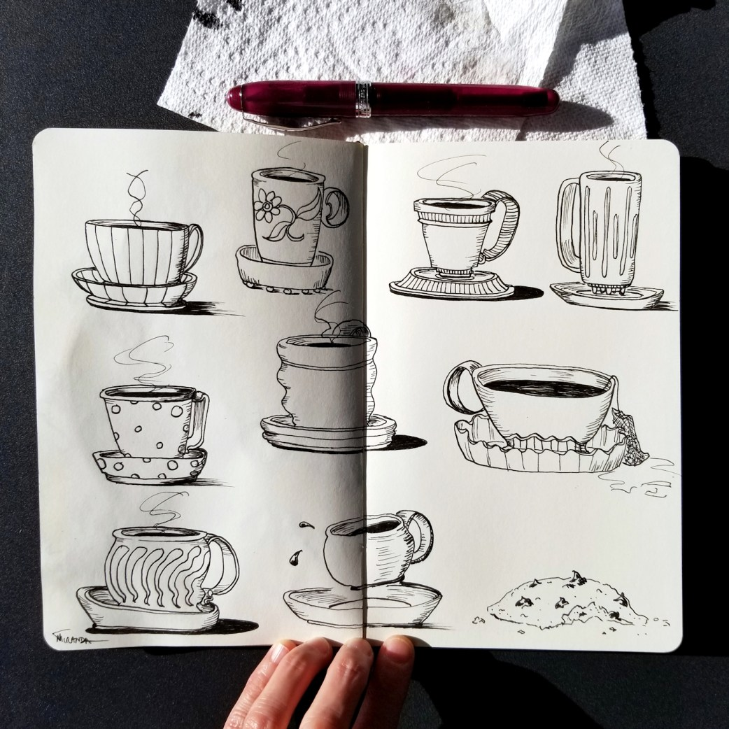 Photo of freehand drawn teacup illustration in my Moleskine notebook