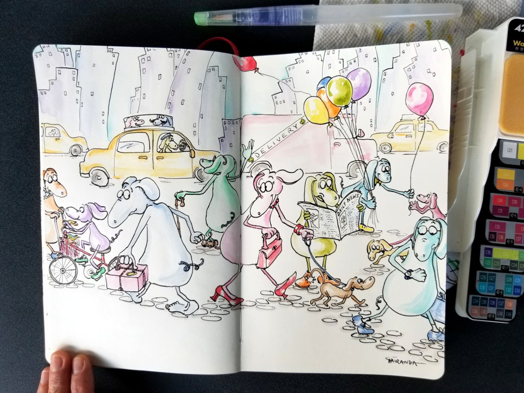 "Photo of my ""PoodleOoh"" illustration in my Moleskine notebook"