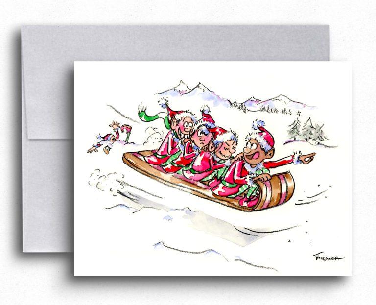 New Holiday Cards Available - Tobogganing Elves by Joana Miranda