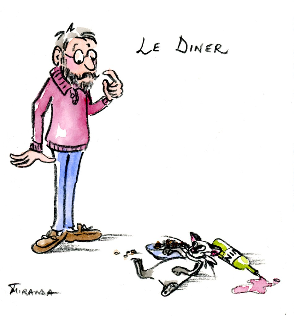 Humorous Cat Art - Le Diner by Joana Miranda Studio
