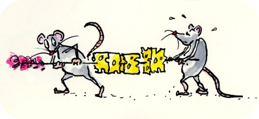 Freehand ink and watercolor drawing of two mice carrying off a toothpick laden with cheese, by Joana Miranda
