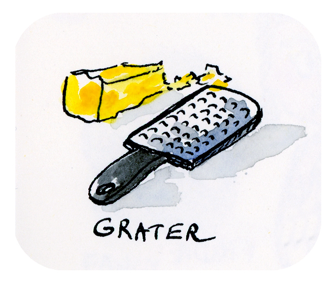 Whimsical cheese grater illustration by Joana Miranda