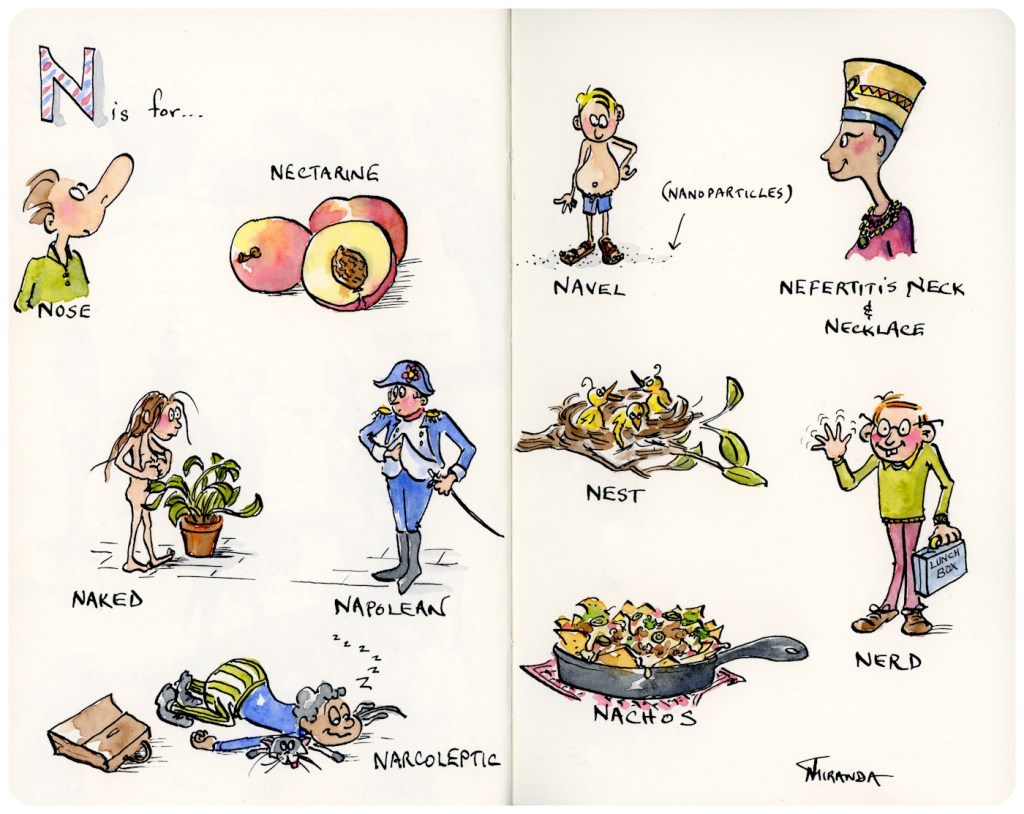 Here is my N is for Nachos and New Illustrations - another letter in my Moleskine sketchbook alphabet series.