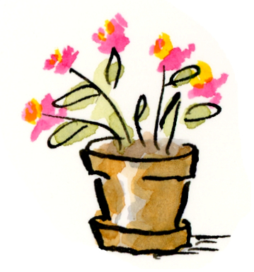 Whimsical art for mothers and a flower pot for today!
