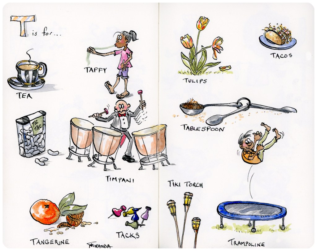 T is for Tea and Other Illustrations - Whimsical ink and watercolor Moleskine art sketchbook alphabet illustrations by Joana Miranda