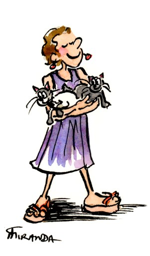 Love Illustrated - Ink and watercolor cartoon illustration of the illustrator with her two Toybob kittens.