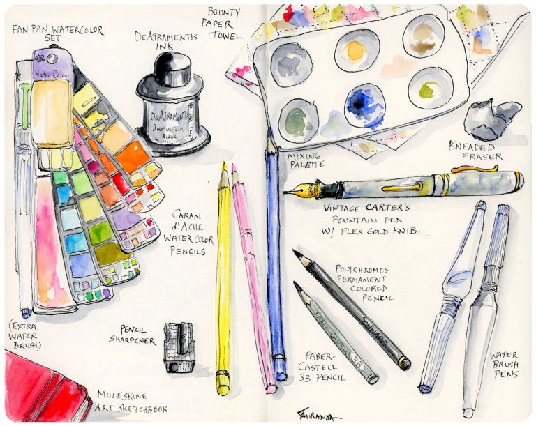 Ink and watercolor freehand drawn illustration of my favorite drawing and painting tools - by Joana Miranda
