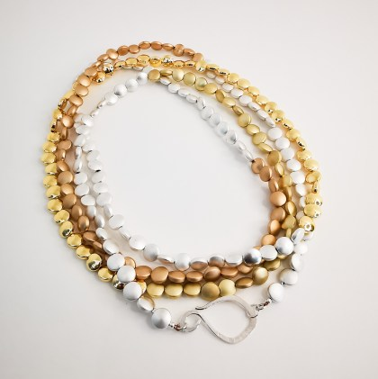 Gold plated necklace with gemstones