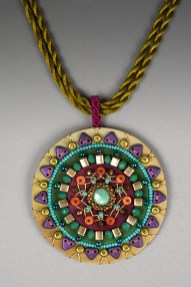Mandala Pendant (Lime, Purple & Olive)