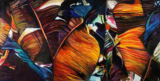 "Banana Leaves II 27"" x 54"" Mixed Media on Canvas"