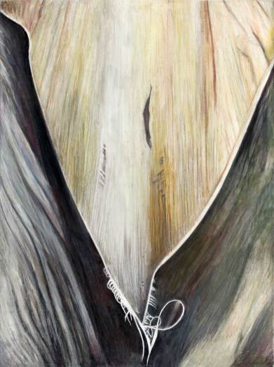 """Cleavage 48.5"""" x 36"""" Mixed Media on Canvas"""
