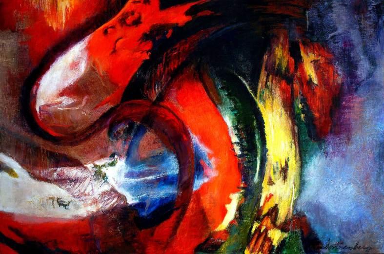 """El Nino 54"""" x 82"""" Mixed Media on Canvas"""
