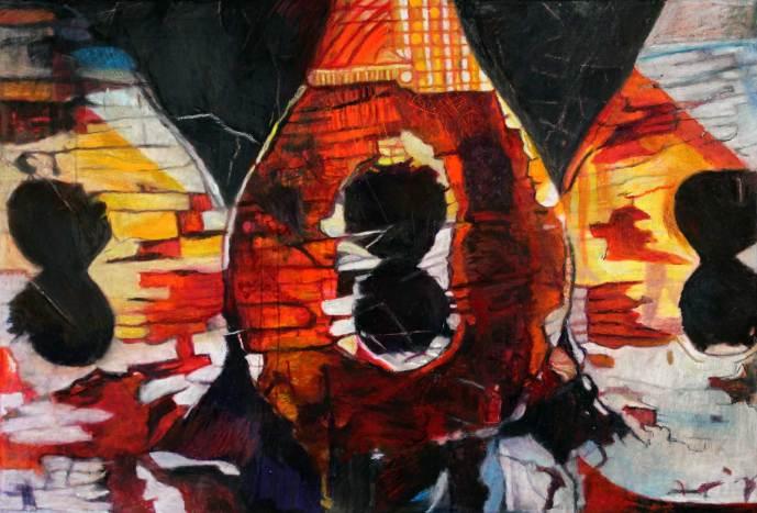 "Trio 35.5"" x 53"" Mixed Media on Canvas"