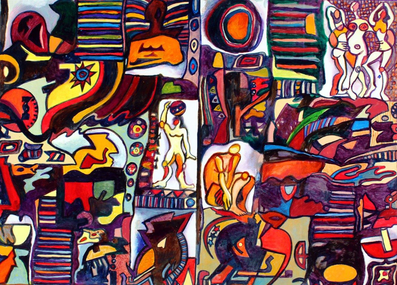 "Intalgio Transitional PTGS 38"" x 52.5"" Mixed Media on Canvas"