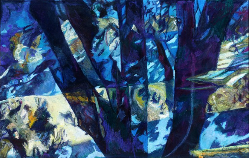 """Out Of The Blue 29.5"""" x 47"""" Mixed Media on Paper"""