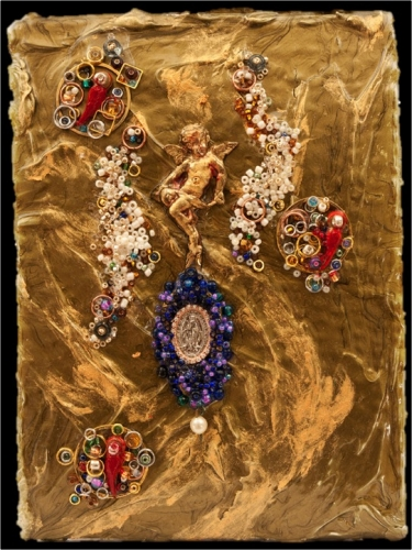 """7"""" x 5"""" collages of medals, gold leaf, plaster, silver leaf, chains, dried honeycomb, crystals, found objects"""
