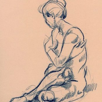 Cropped drawing, seated