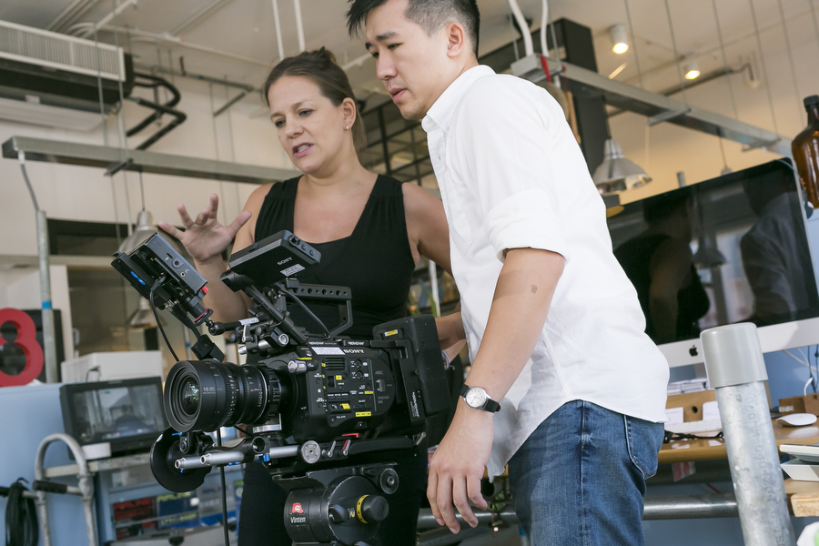 Joanna on set directing for Cathay Pacific with DP Jack Lam