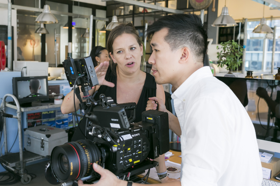 Hong Kong Director Joanna Bowers works with DP Jack Lam on Cathay Pacific commercial shoot