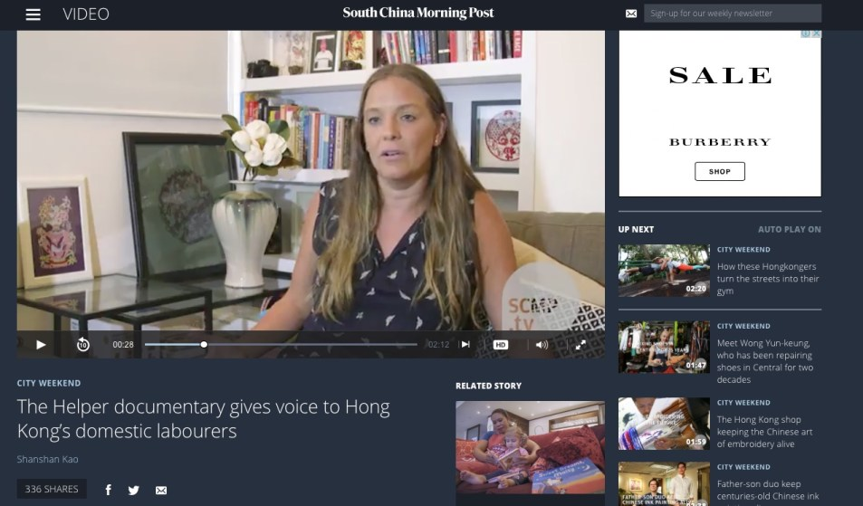 Hong Kong director Joanna Bowers talks to SCMP about The Helper documentary
