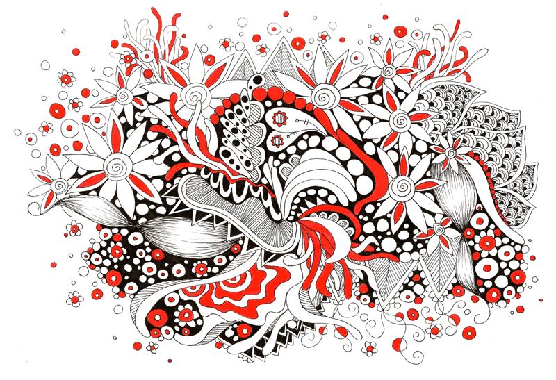 Flower Explosion Ink Pen Doodles
