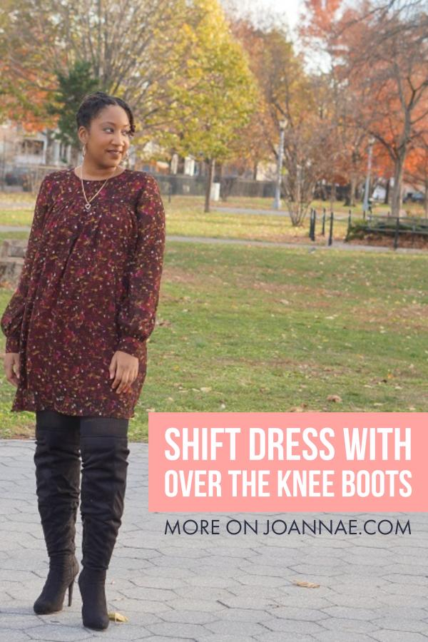 Shift Dress with Over the Knee Boots