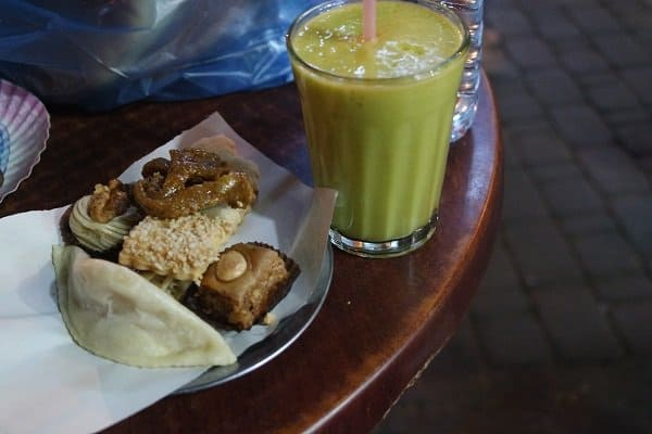 Moroccan food and drinks Avocado smoothie and snacks