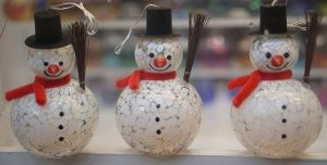 snowmen decor at the nyc holiday markets