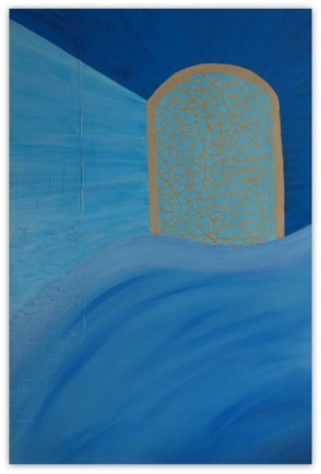CHEFCHAOUEN BLUE TOWN, PAINTING ON CANVAS, ACRILIC, SIZE 80X120 CM (31,50x47,24 INCH), CATALOGUE NO. 63, STATUS: AVAILABLE