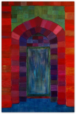 MULTICOLORED DOOR IN CASABLANCA, PAINTING ON CANVAS, ACRILIC, SIZE 80X120 CM (31,50x47,24 INCH), CATALOGUE NO. 62, STATUS: AVAILABLE