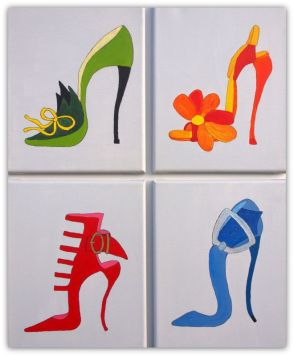 SHOES, PAINTING ON CANVAS, MIX MEDIA, ACRILIC, SIZE 4 X 24X30 CM (4 x 9,5x11,81 INCH), CATALOGUE NO. 67, STATUS: AVAILABLE