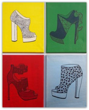 SHOES, PAINTING ON CANVAS, MIX MEDIA, ACRILIC, SIZE 4 X 24X30 CM (4 x 9,5x11,81 INCH), CATALOGUE NO. 69, STATUS: AVAILABLE