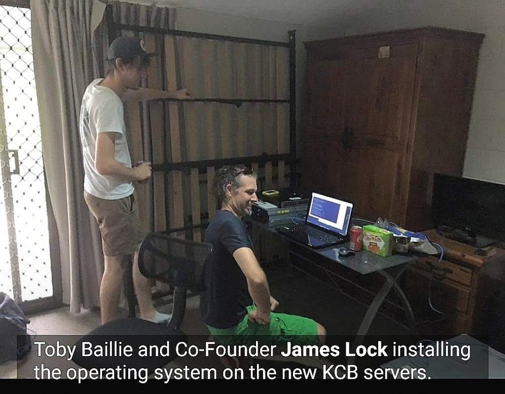 Toby Baillie KCB Co-Founder James Lock install operating system new servers