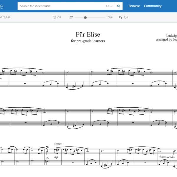 MuseScore online score very simple version Fur Elise for piano