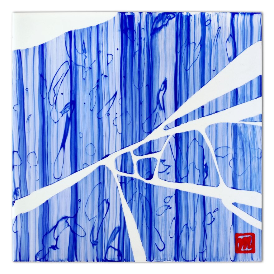 painting on ceramic tile inspired by the Japanese art of Kintsugi