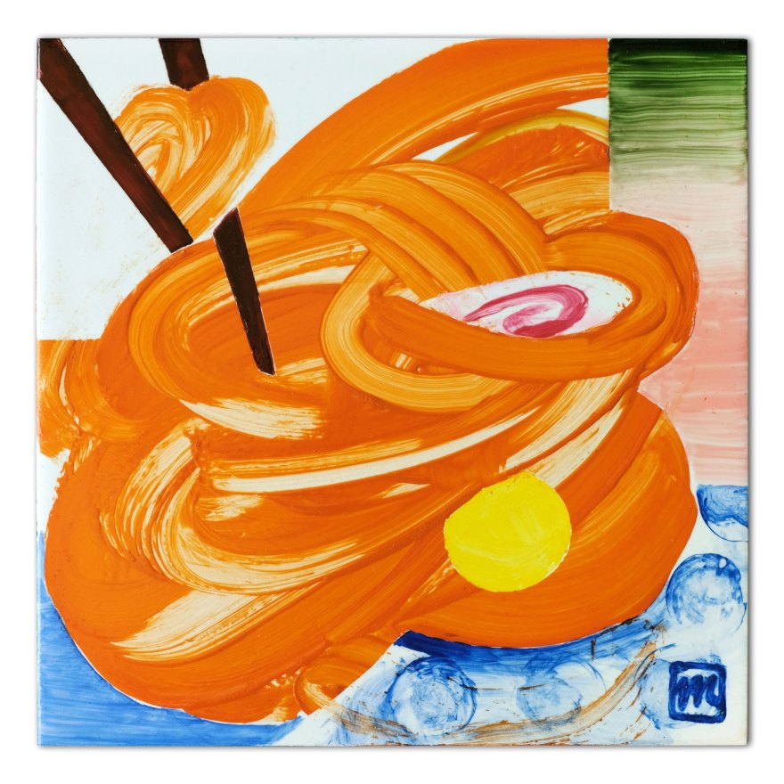 Painting on ceramic tile inspired by the Japanese speciality Ramen soup