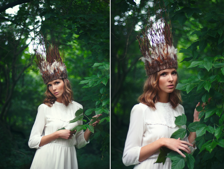 girl with leaves and stick crown