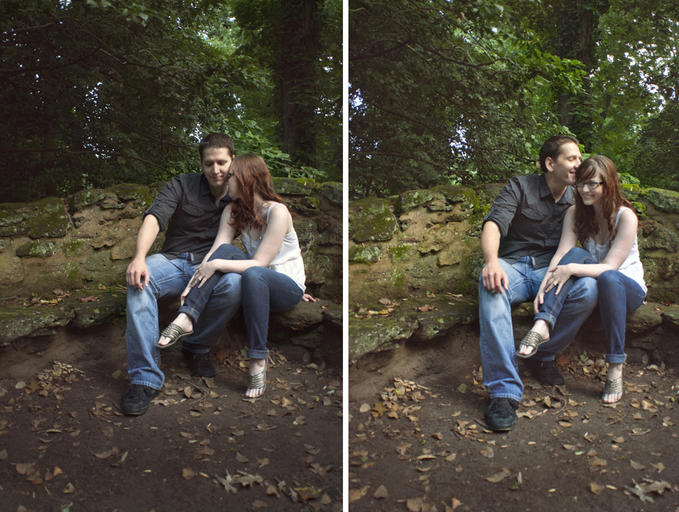 cute engagement photos of couple sitting on stone bench