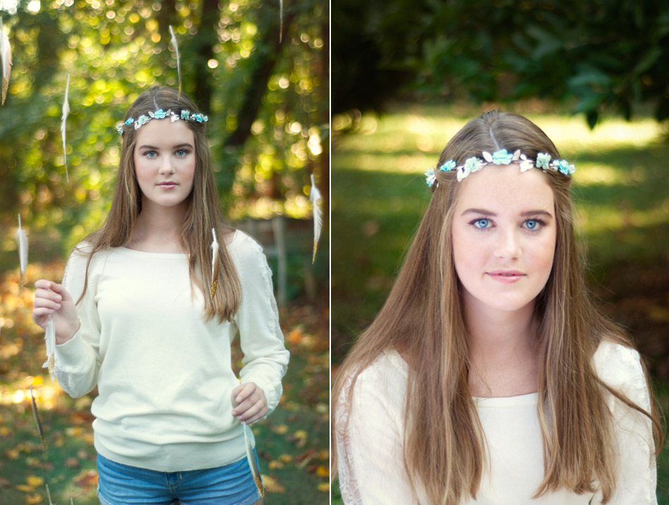 Fall portraits with feathers and flower crown