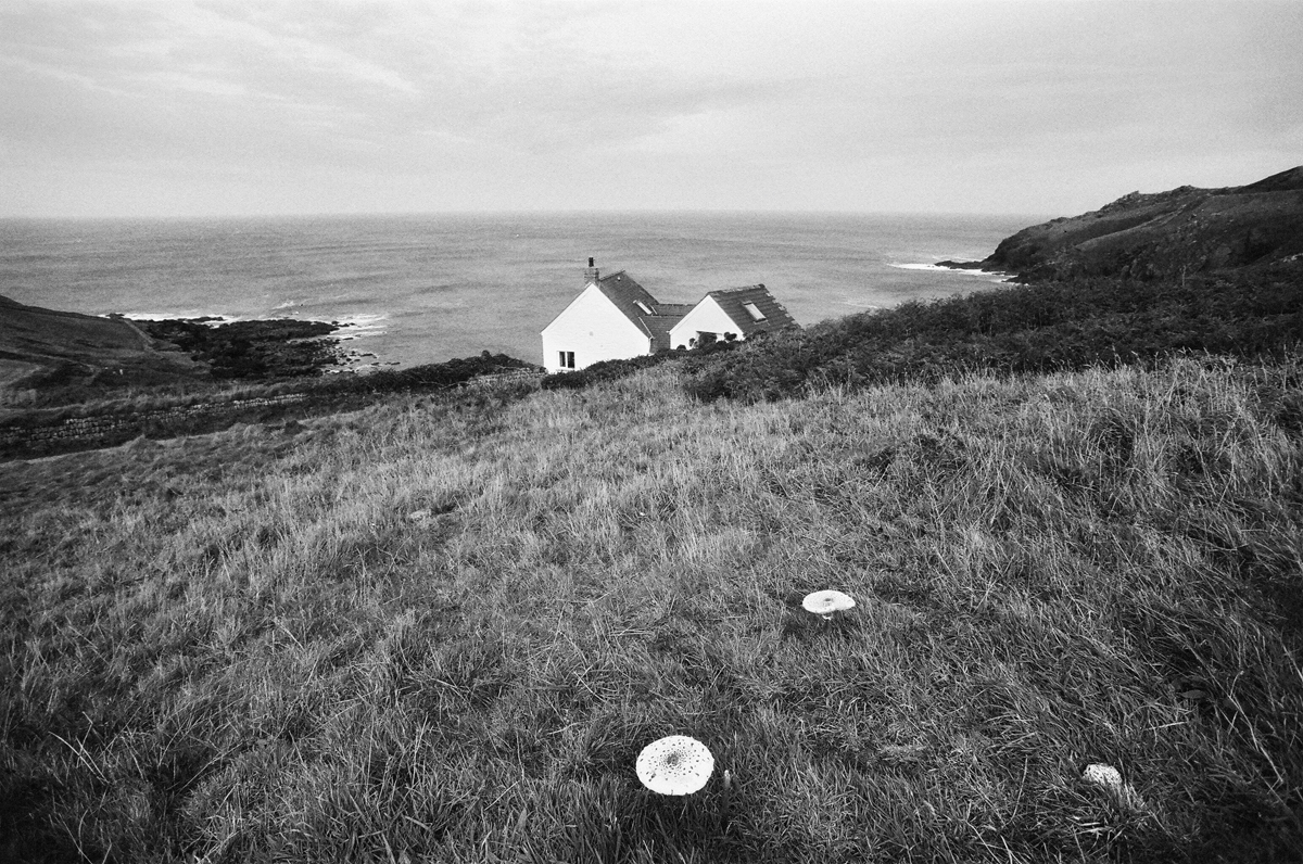 black and white photo of cape cornwall