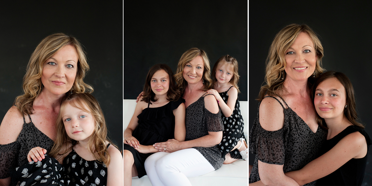 photos of mother and her daughters in a studio