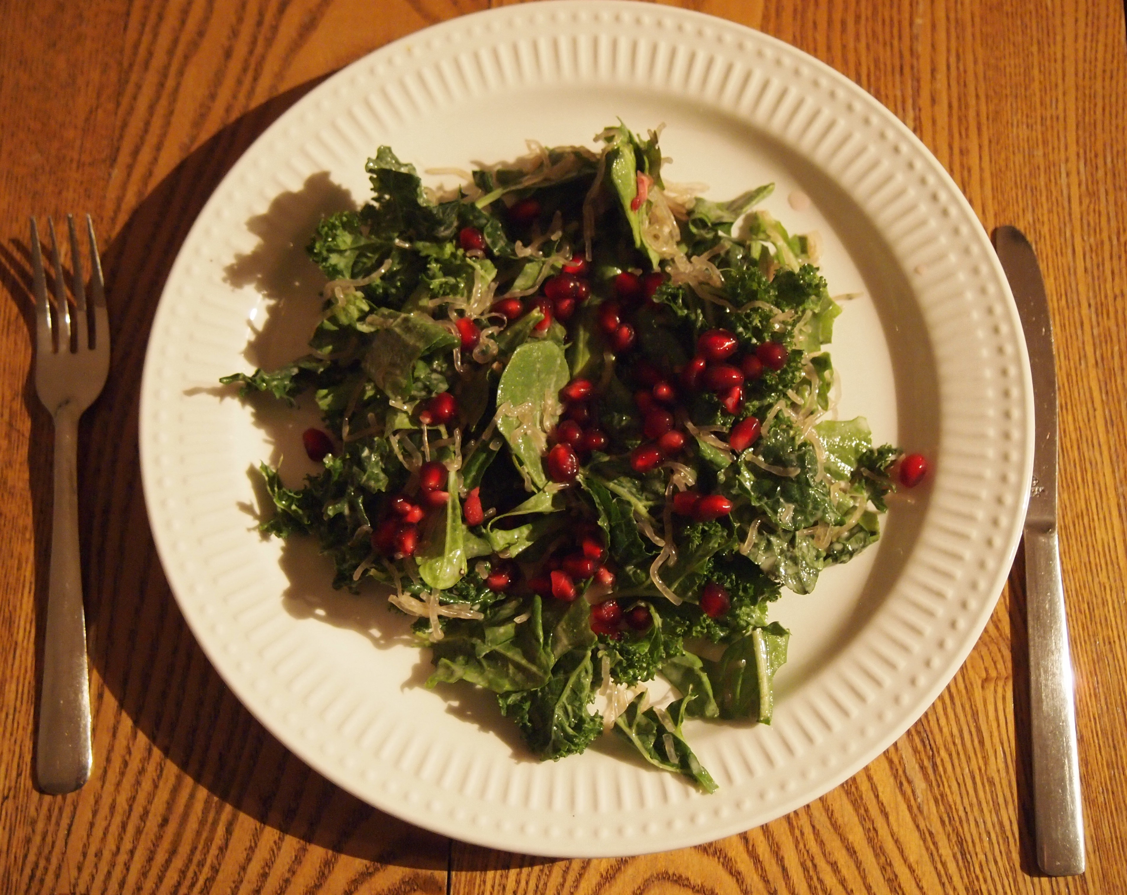 Red Pomegranate, Leafy Greens And Kelp Noodle Salad - So Colourful