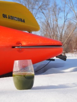 "Green Juice waiting for a ride in a kayak.. Spring is a great time to ""be the change""."