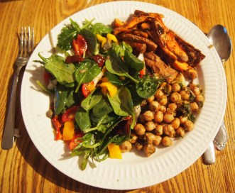 Garam Masala Chick Peas - served with a salad and thick wedge generation sweet potato fries