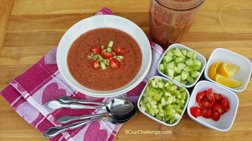 Cold Tomato Soup Cottage Gazpacho | 9CupChallenge.com
