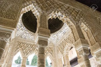 5447735-arabesque-architecture-at-the-alhambra-in-granada-spain-stock-photo