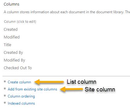 ListColumnsSiteColumns