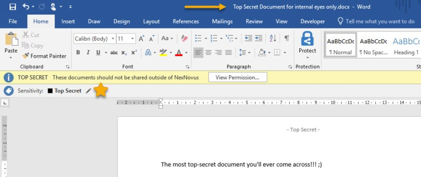 Document with Top Secret label